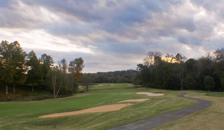 Image: Fairway bunkers do fairway next to the cart path at Salem Glen Country Club | Clemmons NC