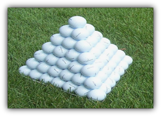 Image: Golf balls stacked in a pyramid